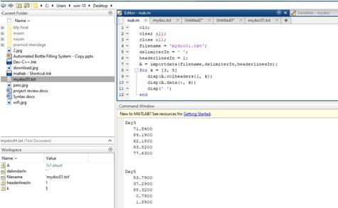 Matlab Import Data Example 2