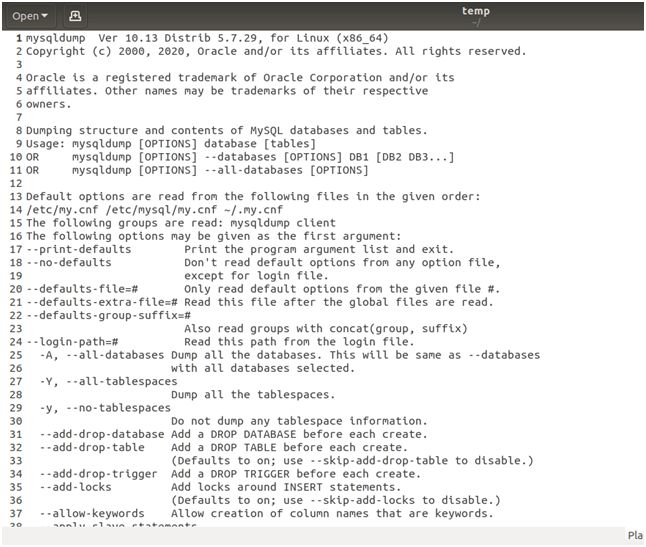 MySQL Backup Example 2