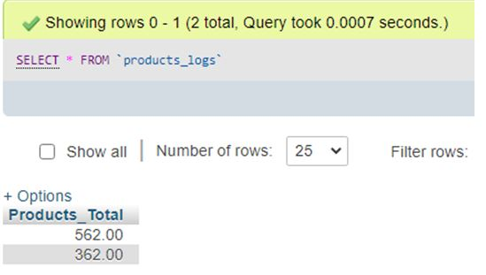 To view the changes, query the data forms Product_logs table