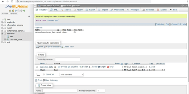 MySQL Database Repair Example 10
