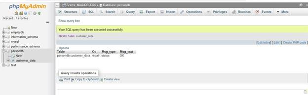 MySQL Database Repair Example 12