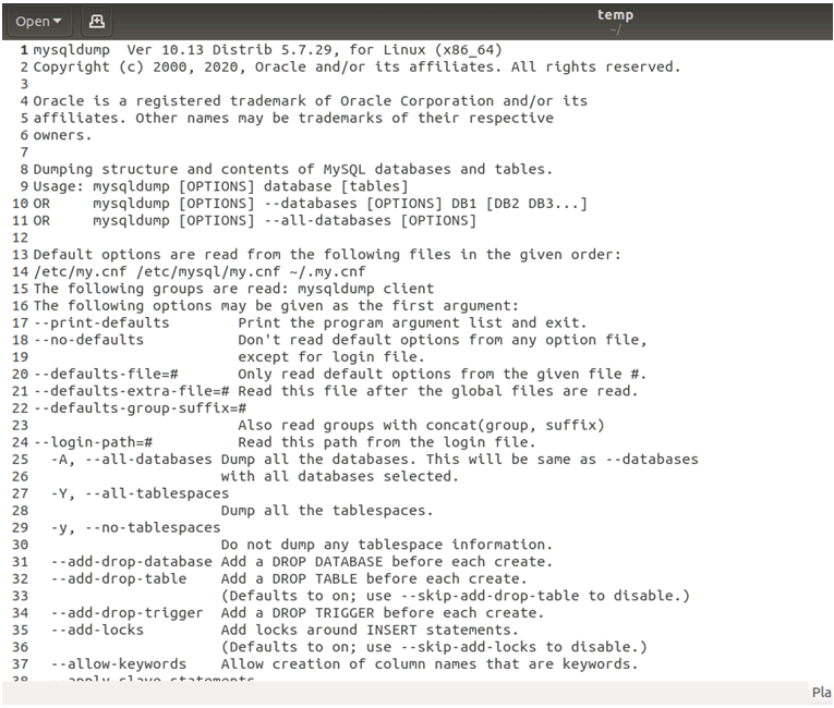 MySQL Dump-1.3