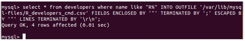MySQL Export to csv 2