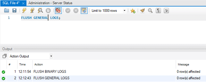 MySQL Flush Log - 2