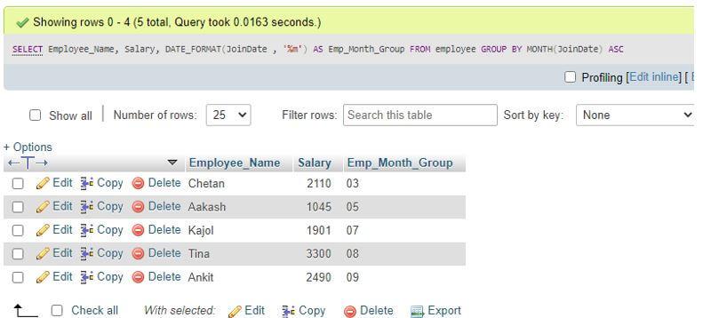 MySQL GROUP BY month 7