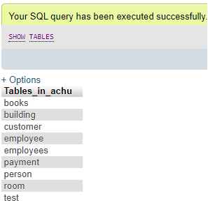 MySQL SHOW Example 2