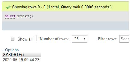 MySQL SYSDATE() output 4