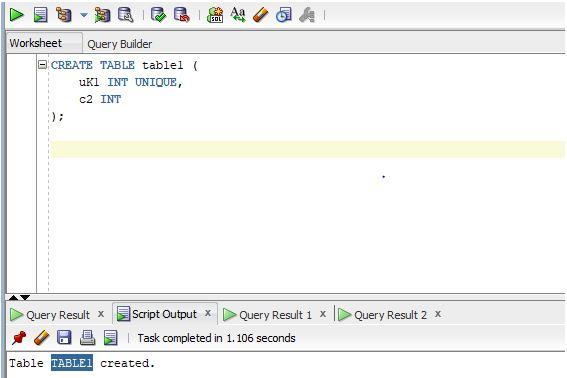 Oracle UNIQUE Index1