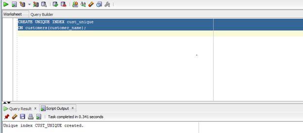 Oracle UNIQUE Index3
