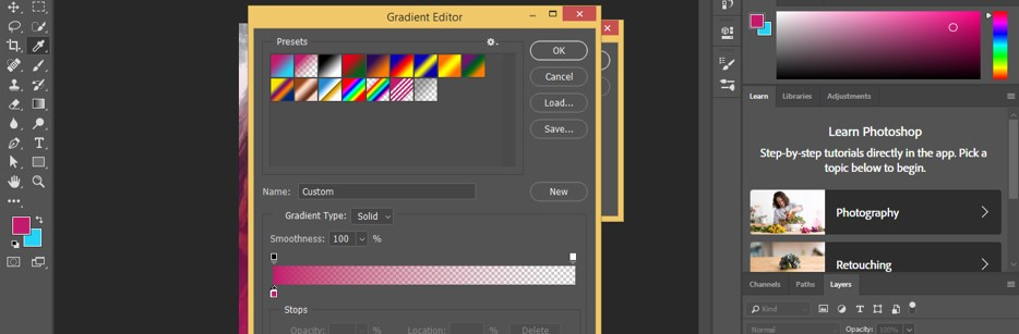 Gradient Editor box