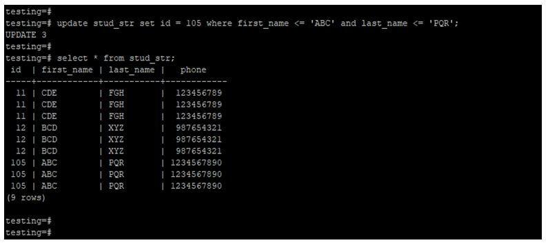 PostgreSQL Compare Strings 11JPG