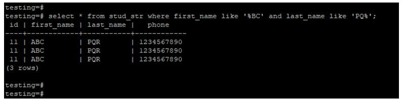 using like operator