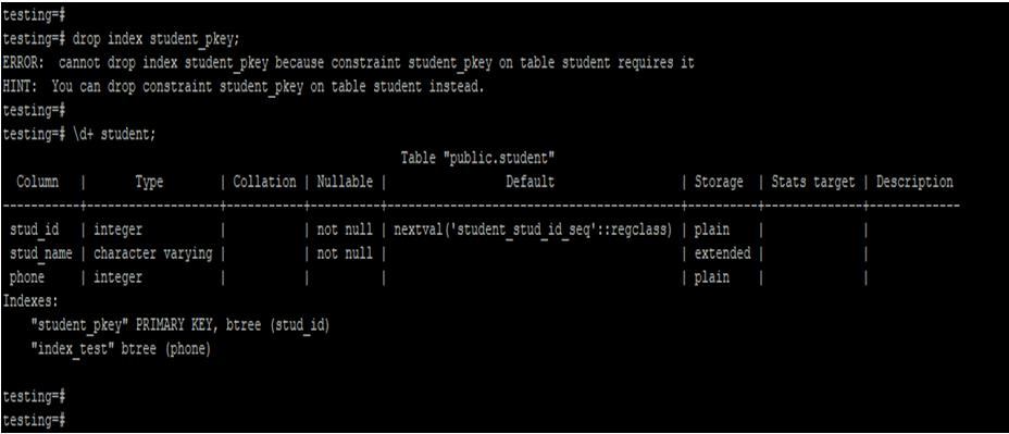 PostgreSQL DROP INDEX-1.2