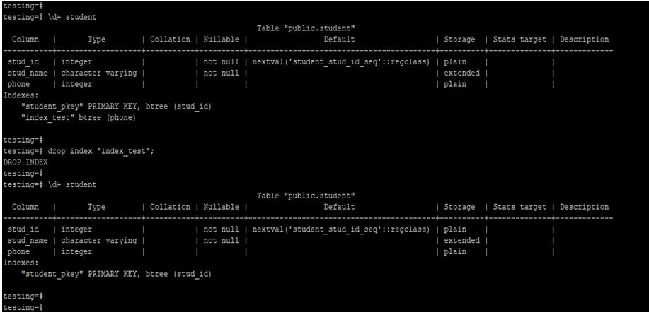 PostgreSQL DROP INDEX-1.3