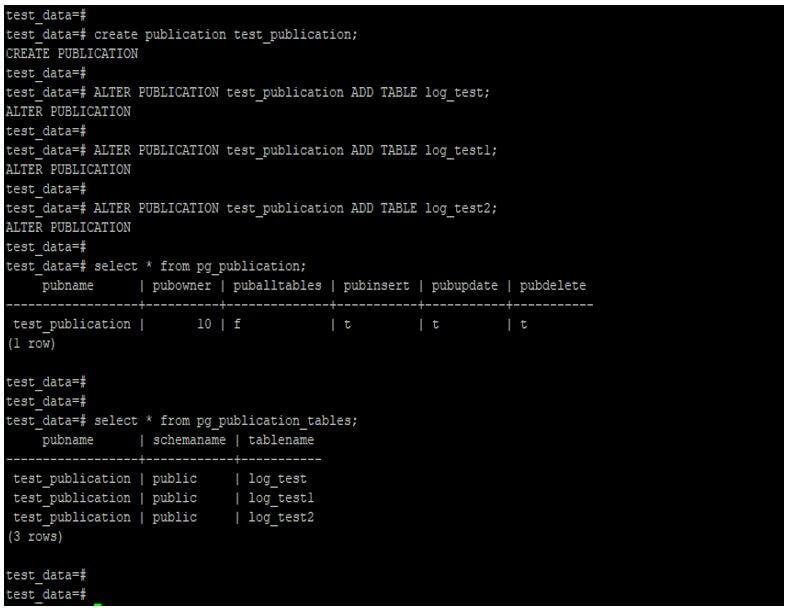 Create publication on master server