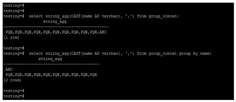 using the string_agg function