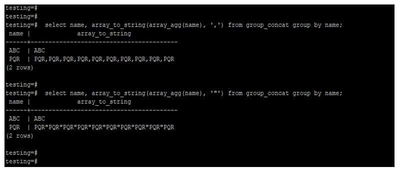 using array_agg and array_to_string function