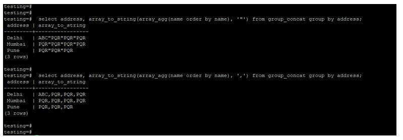 to order each column using array_agg and array_to_string function