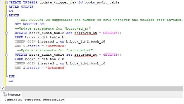 SQL AFTER UPDATE Trigger11