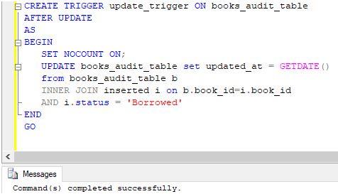 Create a trigger in SQL