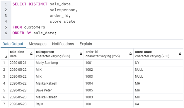 SQL SELECT DISTINCT Example 6