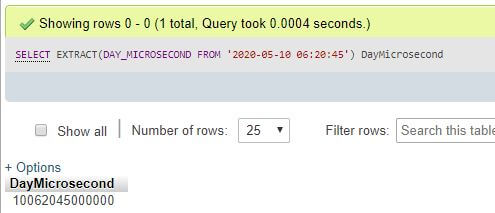 MySQL EXTRACT()3