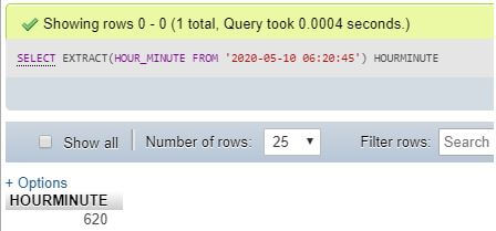 MySQL EXTRACT()8