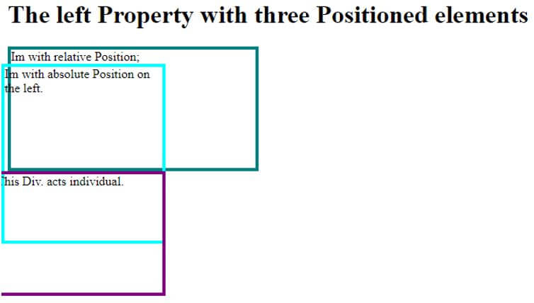 Three positioned elements