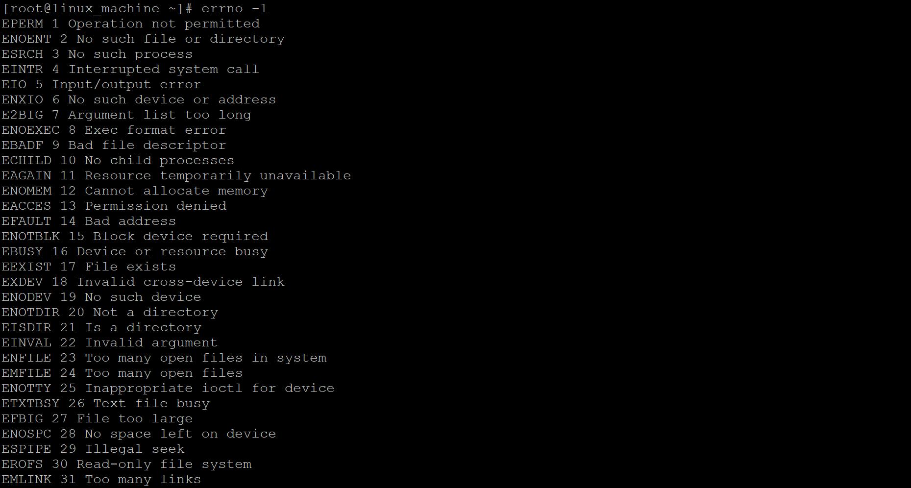 Linux Error Codes output 1