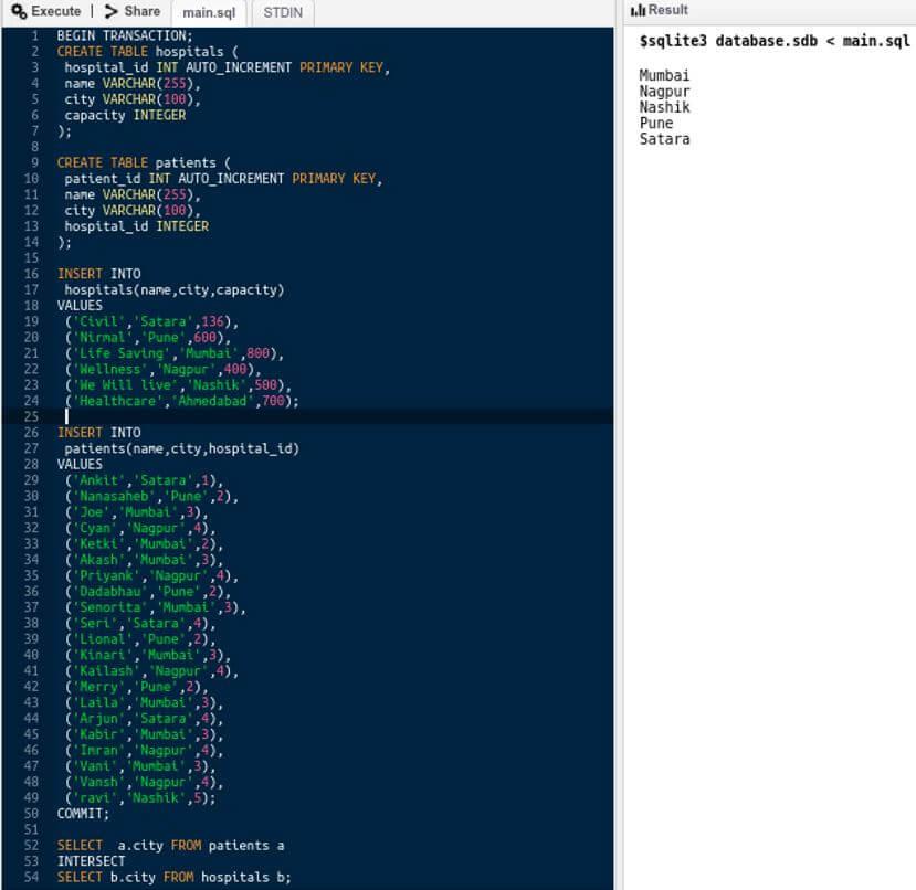 SQL INTERSECT 10