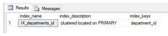 sp_helpindex stored procedure