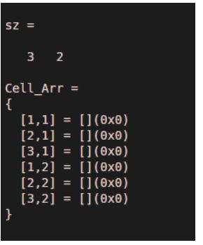 to create an empty cell array having the size same as given input array
