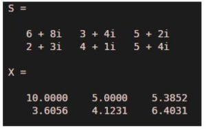array of complex numbers