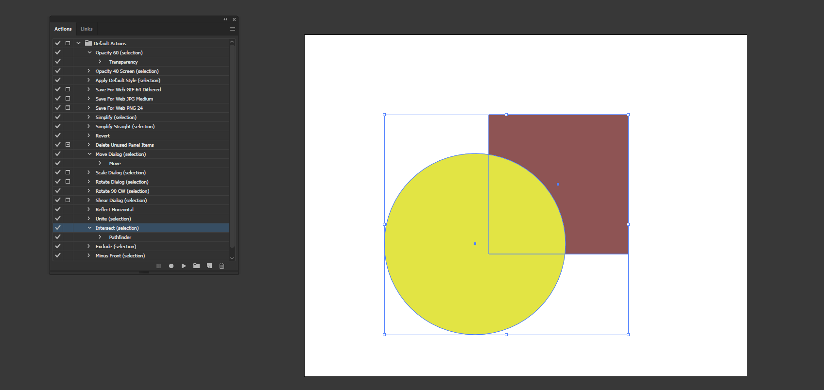 Action in Illustrator output 10