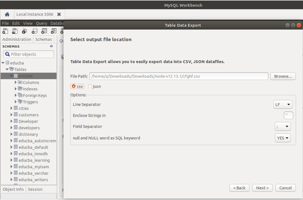 MySQL export database 3