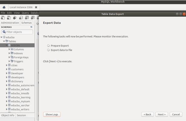 MySQL export database 4