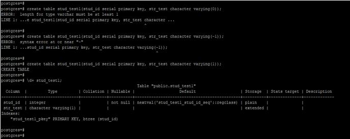 PostgreSQLCharacter Varying 1