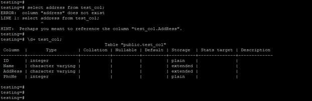 PostgreSQL column does not exist 2
