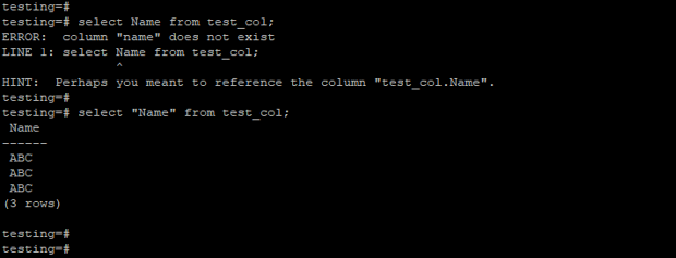 PostgreSQL column does not exist 5