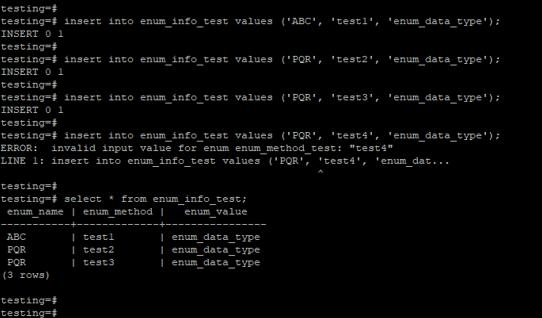 PostgreSQL enum 5