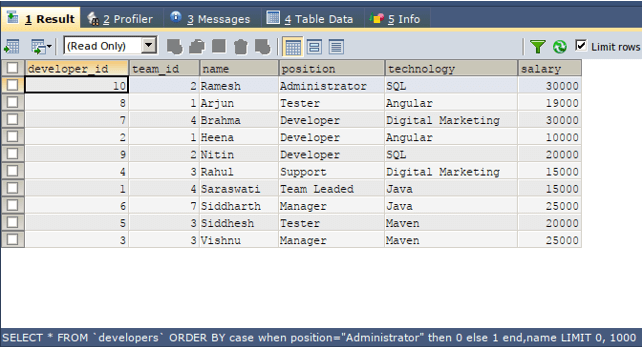 SQL order by case 2