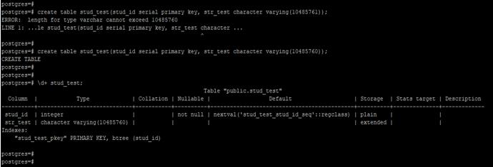 character varying PostgreSQL