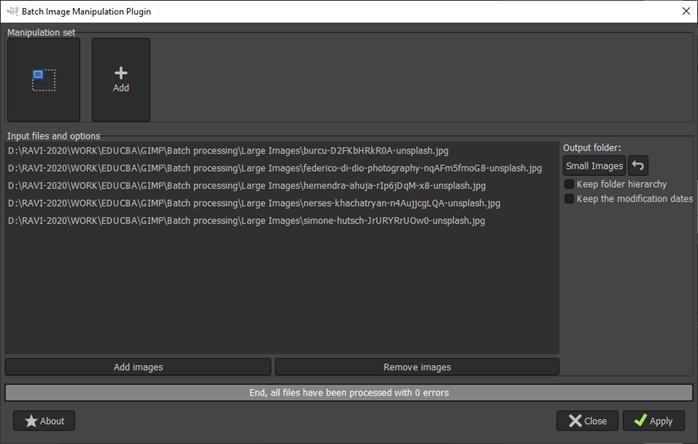 GIMP batch processing output 10