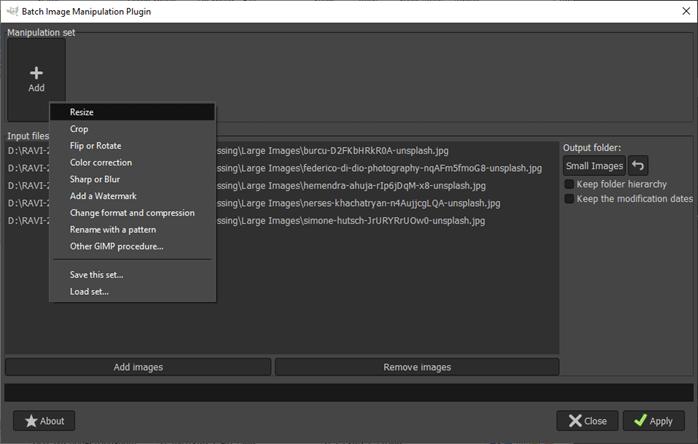 GIMP batch processing output 7