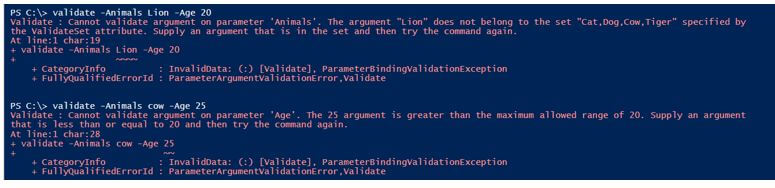 Values outside the validation range throw exception
