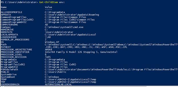 PowerShell set environment variable output 1
