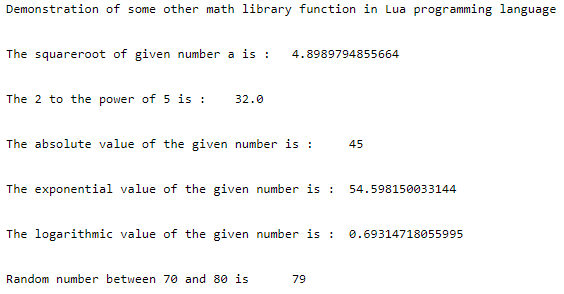 Lua math output 2