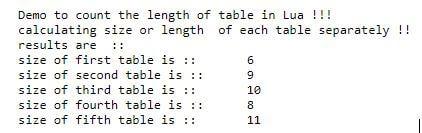 lua table length 1