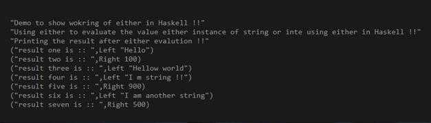 Haskell either output