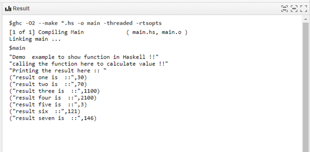 Haskell function output